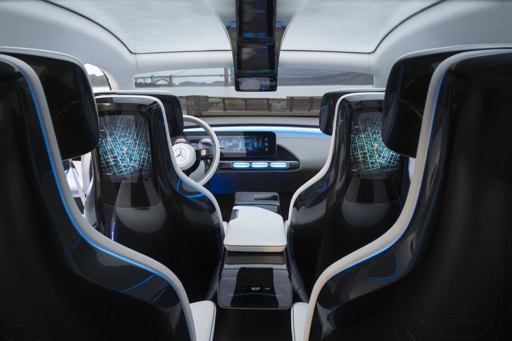 Das Concept EQ bietet Einblicke in mögliche Innenraumkonzepte der Zukunft. Bild: Daimler