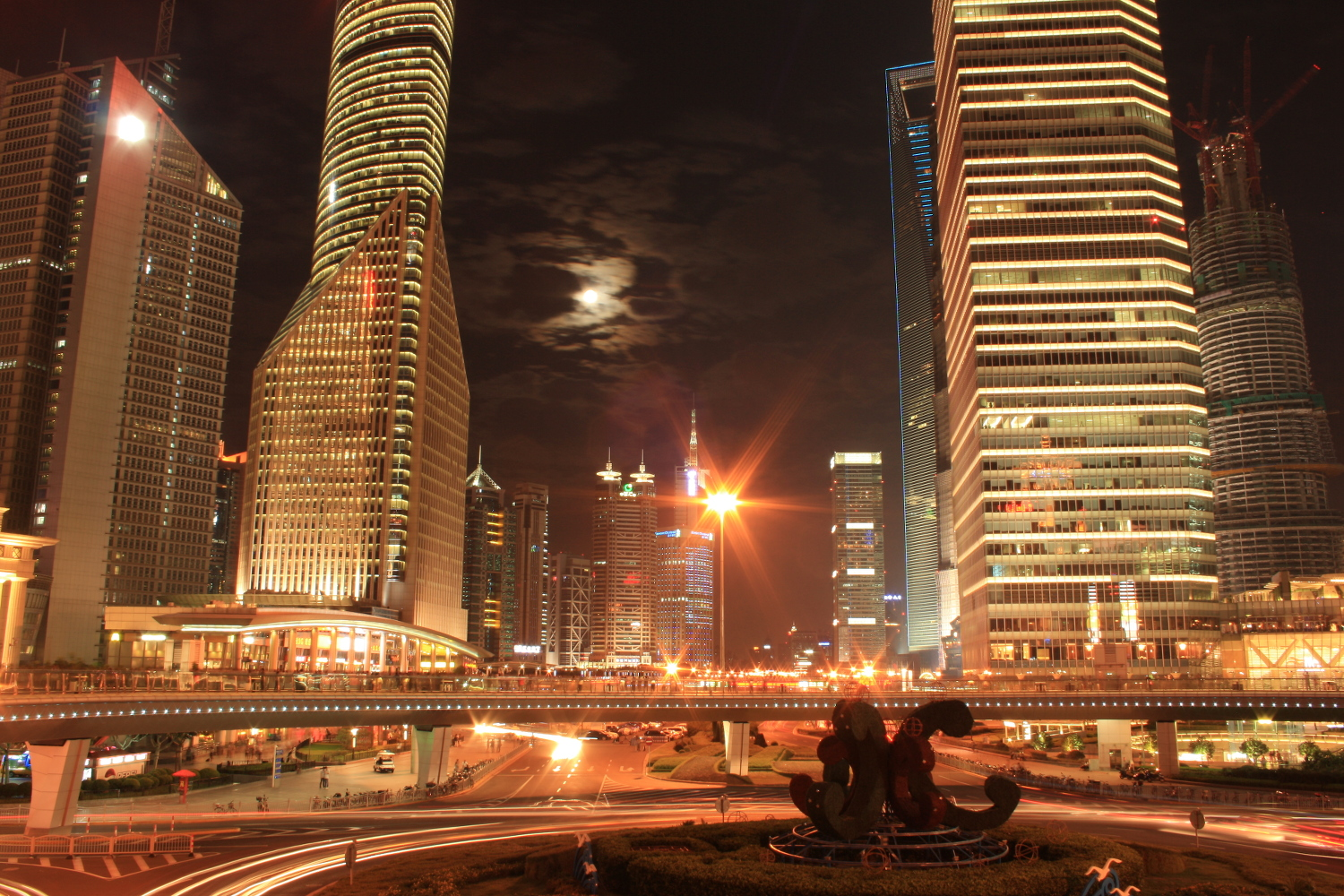 Shanghai Traffic Towers Night